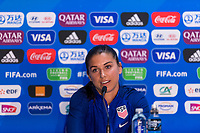 Reims, FRA - June 10, 2019:  The USWNT attends a press conference before their first group stage match at the FIFA Women's World Cup.