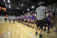 The Richter City All Stars line up before the Roller Derby match between the Richter City All Stars and the Victoria Roller Derby Queen Bees at TSB Bank Arena, Wellington, New Zealand on Saturday, 13 July 2013. Photo: Dave Lintott / lintottphoto.co.nz