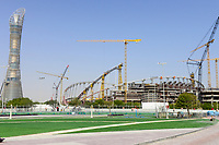 QATAR, Doha, construction site Khalifa International Stadium for FIFA world cup 2022, built by contractor midmac and sixt contract, left Aspire Tower / KATAR, Doha, Baustelle Khalifa International Stadium fuer die  FIFA Fussballweltmeisterschaft 2022, links Aspire Tower