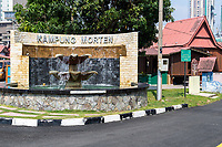 Kampung Morten Monument, Traditional House on right, Melaka, Malaysia.