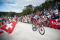 Nils Politt (DEU/Katusha-Alpecin)  up the gravel section in the final stretch to the finish line up La Planche des Belles Filles<br /> <br /> Stage 6: Mulhouse to La Planche des Belles Filles (157km)<br /> 106th Tour de France 2019 (2.UWT)<br /> <br /> ©kramon