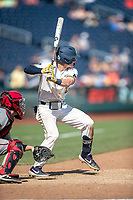 Michigan Wolverines shortstop Jack Blomgren (2) at bat during Game 11 of the NCAA College World Series against the Texas Tech Red Raiders on June 21, 2019 at TD Ameritrade Park in Omaha, Nebraska. Michigan defeated Texas Tech 15-3 and is headed to the CWS Finals. (Andrew Woolley/Four Seam Images)