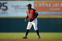 Hickory Crawdads second baseman Yonny Hernandez (1) on defense against the Kannapolis Intimidators at L.P. Frans Stadium on July 20, 2018 in Hickory, North Carolina. The Crawdads defeated the Intimidators 4-1. (Brian Westerholt/Four Seam Images)