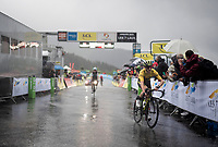 misty finish line arrival by (now former) yellow jersey / GC leader Adam Yates (GBR/Mitchelton-Scott) as he lost some seconds (and the jersey to Jakob Fuglsang <br /> <br /> torrential rainstorm hits Stage 7: Saint-Genix-les-Villages to Pipay  (133km)<br /> 71st Critérium du Dauphiné 2019 (2.UWT)<br /> <br /> ©kramon