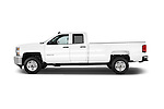 Car Driver side profile view of a 2015 Chevrolet Silverado 2500 HD Work Truck Double Cab LWB 4 Door  Side View