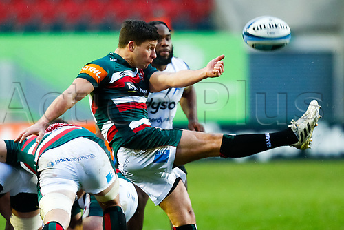 3rd January 2021; Welford Road Stadium, Leicester, Midlands, England; Premiership Rugby, Leicester Tigers versus Bath Rugby; Ben Youngs of Leicester Tigers box-kicks at a ruck