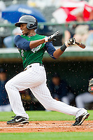 Greg Golson #2 of the Charlotte Knights follows through on his swing against the Buffalo Bison at Knights Stadium on May 13, 2012 in Fort Mill, South Carolina.  The Bison defeated the Knights 7-6.  (Brian Westerholt/Four Seam Images)