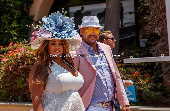 DEL MAR, CA  JULY 16: Well dressed couple comes into Del Mar Thoroughbred Club.  (Photo by Casey Phillips/ Eclipse Sportswire/ CSM)