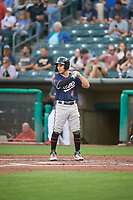 Alek Thomas (4) of the Reno Aces at bat against the Salt Lake Bees at Smith's Ballpark on August 24, 2021 in Salt Lake City, Utah. The Aces defeated the Bees 6-5. (Stephen Smith/Four Seam Images)
