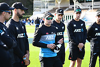 20th March 2021; Dunedin, New Zealand;  Captain Tom Latham talks to his players.<br />