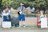 """Cyti Gui, self-proclaimed as """"Philadelphia's Top Illuminati Lecturer,"""" performs outside of the secure area surrounding the Democratic National Convention at the Wells Fargo Center in Philadelphia, Pennsylvania, on Wed., July 27, 2016."""