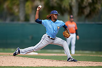 Tampa Bay Rays pitcher Miguel Lara (85) during a Minor League Spring Training game against the Baltimore Orioles on March 16, 2019 at the Buck O'Neil Baseball Complex in Sarasota, Florida.  (Mike Janes/Four Seam Images)