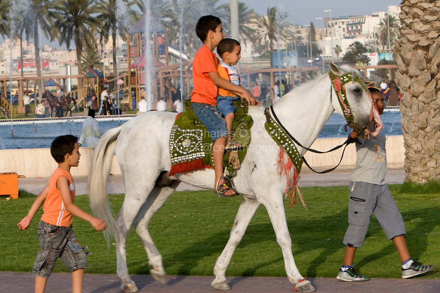 Tripoli, Libya, North Africa - Boys Horseback Riding, Friday Afternoon in the Public Park, near the Green Square.