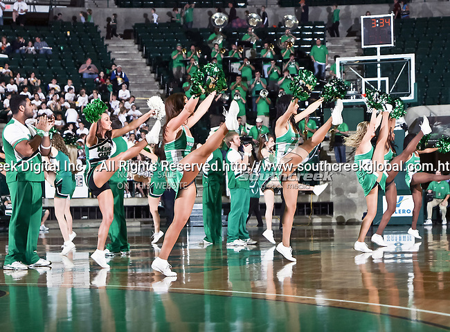 The North Texas Mean Green cheerleaders and dance team in action during the NCAA Women's basketball game between the South Alabama Jaguars and the University of North Texas Mean Green at the North Texas Coliseum,the Super Pit, in Denton, Texas. South Alabama defeated UNT 79 to 61.