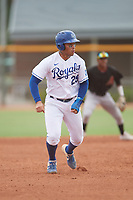 Diego Maican (25) of the ACL Royals Blue during a game against the ACL Diamondbacks on September 17, 2021 at Surprise Stadium in Surprise, Arizona. (Tracy Proffitt/Four Seam Images)