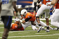 SAN ANTONIO, TX - NOVEMBER 28, 2015: The Middle Tennessee State University Blue Raiders defeat the University of Texas at San Antonio Roadrunners 42-7 at the Alamodome. (Photo by Jeff Huehn)