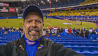 29 March 2014: I take a selfie self portrait as 50,229 baseball fans come to Olympic Stadium for a pre-season exhibition game between the Toronto Blue Jays and the New York Mets in Montreal, Quebec. The Blue Jays shut out the Mets 2-0 in the first MLB professional baseball series since September of 2004. The Blue Jays swept the 2-game series. Mandatory Credit: Ed Wolfstein Photo *** RAW (NEF) Image File Available ***