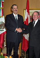 Montreal, April 20, 2001<br /> The President of the United Mexican States ; His Excellency Vincente Fox Quesada (left) pose for photographers with Quebec Premier, the Honorable Bernard Landry, April 20, 2001 in Montreal, CANADA.<br /> President Fox will attend the Quebec Summit of the Americas opening today.<br /> Photo : Pierre Roussel