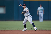 Gwinnett Stripers third baseman Yolmer Sanchez (2) on defense against the Charlotte Knights at Truist Field on July 17, 2021 in Charlotte, North Carolina. (Brian Westerholt/Four Seam Images)