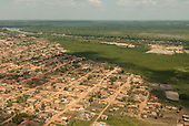 Maraba, Para State, Brazil. Aerial view of local houses and Tocatins river.