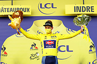 1st July 2021; Chateauroux, France; VAN DER POEL Mathieu (NED) of ALPECIN-FENIX pictured during the podium ceremony in the yellow jersey after stage 6 of the 108th edition of the 2021 Tour de France cycling race, a stage of 160,6 kms between Tours and Chateauroux on July 1