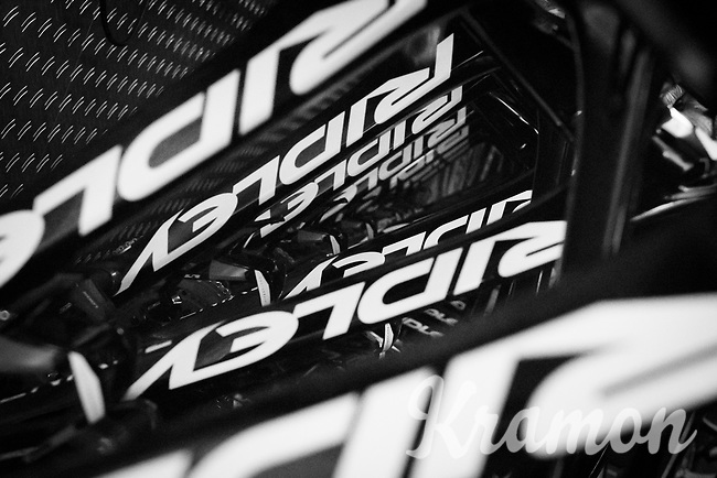 frames hanging in the team truck<br /> <br /> Team Lotto-Soudal final prep for Paris-Roubaix 2017 1 day before the race
