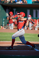 Nonie Williams (27) of the Orem Owlz bats against the Ogden Raptors at Lindquist Field on June 19, 2018 in Ogden, Utah. The Raptors defeated the Owlz 7-2. (Stephen Smith/Four Seam Images)