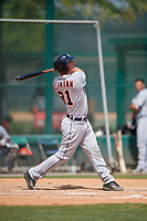 Detroit Tigers Austin Athmann (81) bats during a minor league Spring Training game against the Atlanta Braves on March 25, 2017 at the ESPN Wide World of Sports Complex in Orlando, Florida.  (Mike Janes/Four Seam Images)