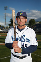 David Banuelos (48) of the Everett AquaSox poses for a photo before a game against the Boise Hawks at Everett Memorial Stadium on July 20, 2017 in Everett, Washington. Everett defeated Boise, 13-11. (Larry Goren/Four Seam Images)