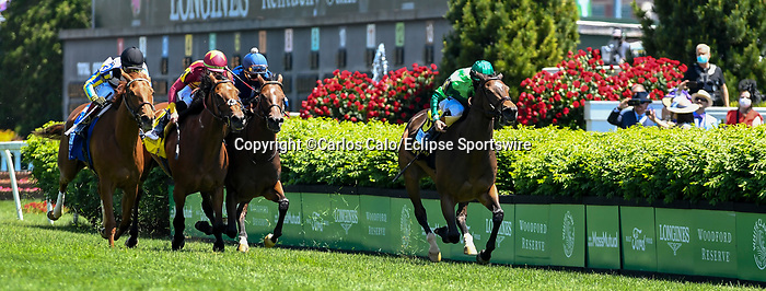 May 1, 2021 : Blowout, #6, ridden by jockey Joel Rosario, wins the Longines Churchill Distaff Turf Mile on Kentucky Derby Day at Churchill Downs on May 1, 2021 in Louisville, Kentucky. Carlos Calo/Eclipse Sportswire/CSM