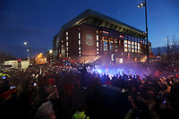 Fans gather at Anfield to greet the Liverpool team coach as it arrives ahead of kick-off<br /> <br /> Photographer Rich Linley/CameraSport<br /> <br /> UEFA Champions League Round of 16 Second Leg - Liverpool v Atletico Madrid - Wednesday 11th March 2020 - Anfield - Liverpool<br />  <br /> World Copyright © 2020 CameraSport. All rights reserved. 43 Linden Ave. Countesthorpe. Leicester. England. LE8 5PG - Tel: +44 (0) 116 277 4147 - admin@camerasport.com - www.camerasport.com