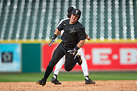 Walker Grisanti (17) of the Vanderbilt Commodores rounds second base on his way to scoring the go-ahead run in the top of the 10th inning against the Sam Houston State Bearkats in game one of the 2018 Shriners Hospitals for Children College Classic at Minute Maid Park on March 2, 2018 in Houston, Texas.  The Bearkats walked-off the Commodores 7-6 in 10 innings.   (Brian Westerholt/Four Seam Images)