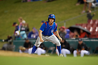 South Bend Cubs pinch runner Clayton Daniel (6) leads off first base during a game against the Kane County Cougars on July 21, 2018 at Northwestern Medicine Field in Geneva, Illinois.  South Bend defeated Kane County 4-2.  (Mike Janes/Four Seam Images)