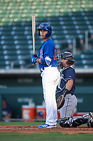 AZL Cubs 1 Carlos Pacheco (29) at bat during an Arizona League game against the AZL Padres 1 on July 5, 2019 at Sloan Park in Mesa, Arizona. The AZL Cubs 1 defeated the AZL Padres 1 9-3. (Zachary Lucy/Four Seam Images)