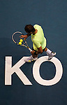 BANGKOK, THAILAND - OCTOBER 01:  Rafael Nadal of Spain prepares to serve against Mikhail Kukushkin of Kazakhstan during the Day 7 of the PTT Thailand Open at Impact Arena on October 1, 2010 in Bangkok, Thailand.  Photo by Victor Fraile / The Power of Sport Images