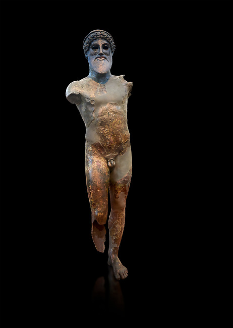 Bronze archaic ancient Greek statue of Poseidon, found in the ancient port of Plataiai, Gulf of Livadostra, Athens National Archaeological Museum. Cat No X11761. Against black<br /> <br /> In this bronze statue of the god Poseidon he would have held a trident in his right hand and probably a dolphin with his left. The statues eyes are made of inlaid material.