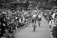riders coming in in bits and pieces<br /> <br /> Tour de France 2013<br /> stage 19: Bourg-d'Oisans to Le Grand-Bornand<br /> 204,5km