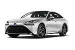 Stock pictures of low aggressive front three quarter view of 2021 Toyota Mirai Limited 4 Door Sedan Low Aggressive