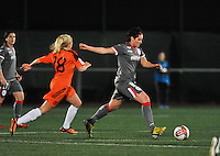 20131017 - GLASGOW , SCOTLAND :  Standard's Cecile De Gernier pictured on the ball with Glasgow's Denise O'Sullivan (left) during the female soccer match between GLASGOW City Ladies FC and STANDARD Femina de Liege , in the 1/16 final ( round of 32 ) second leg in the UEFA Women's Champions League 2013 in Petershill Park in Glasgow. First leg ended in a 2-2 draw . Thursday 17 October 2013. PHOTO DAVID CATRY