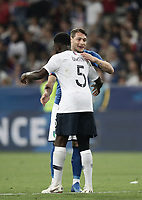 International friendly football match France vs Italy, Allianz Riviera, Nice, France, June 1, 2018. <br /> Italy's Andrea Belotti (front) greets France's Samuel Umtiti (back) at the end of the international friendly football match between France and Italy at the Allianz Riviera in Nice on June 1, 2018.<br /> France wins 3-1.<br /> UPDATE IMAGES PRESS/Isabella Bonotto