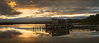 Sunrise at Okarito Lagoon with wharf Westland Tai Poutini National Park, West Coast, UNESCO World Heritage Area, South Westland, New Zealand, NZ