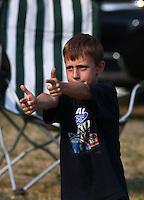 Aug. 2, 2014; Kent, WA, USA; The son of NHRA funny car driver Bob Tasca III during qualifying for the Northwest Nationals at Pacific Raceways. Mandatory Credit: Mark J. Rebilas-