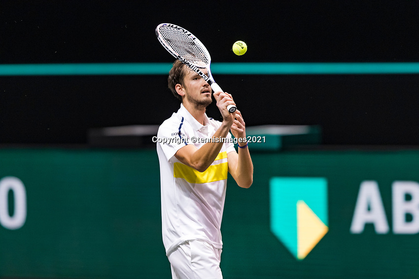 Rotterdam, The Netherlands, 3 march  2021, ABNAMRO World Tennis Tournament, Ahoy, First round match: Daniil Medvedev (RUS).<br /> Photo: www.tennisimages.com/henkkoster