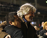 LOUISVILLE, KY -NOV 25: Trainer Steven M. Asmussen(right) celebrates with his groom after Gun Runner wins the G1 Clark Handicap at Churchill Downs, Louisville, Kentucky. (Photo by Mary M. Meek/Eclipse Sportswire/Getty Images)