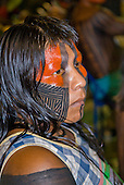 Altamira, Brazil. Encontro Xingu protest meeting about the proposed Belo Monte hydroeletric dam and other dams on the Xingu river and its tributaries. Kayapo woman with face paint.