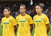 August 03, 2012 - Cardiff England - United Kingdom - Group photograph of BRA Women's Football team before Group F match between JPN and BRA at the Millennium Stadium. .