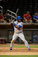 Tennessee Smokies left fielder Jeffrey Baez (33) at bat during a game against the Birmingham Barons on August 16, 2018 at Regions FIeld in Birmingham, Alabama.  Tennessee defeated Birmingham 11-1.  (Mike Janes/Four Seam Images)