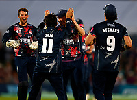 Qais Ahmad of Kent is mobbed after running out Graeme Van Buuren during Kent Spitfires vs Gloucestershire, Vitality Blast T20 Cricket at The Spitfire Ground on 13th June 2021