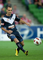 MELBOURNE, AUSTRALIA - DECEMBER 11: Tom Pondeljak of the Victory passes the ball during the round 18 A-League match between the Melbourne Heart and Melbourne Victory at AAMI Park on December 11, 2010 in Melbourne, Australia. (Photo by Sydney Low / Asterisk Images)