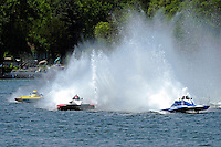 """(L to R):Joe Sovie, A-23 """"Geezerboat"""", Andrew Tate, A-25 """"Fat Chance"""" and Kevin Kreitzer, A-64 """"Blue Devil"""" (2.5 MOD class hydroplane(s)"""